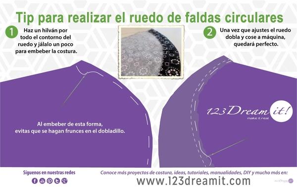 Tip para realizar el ruedo de faldas circulares
