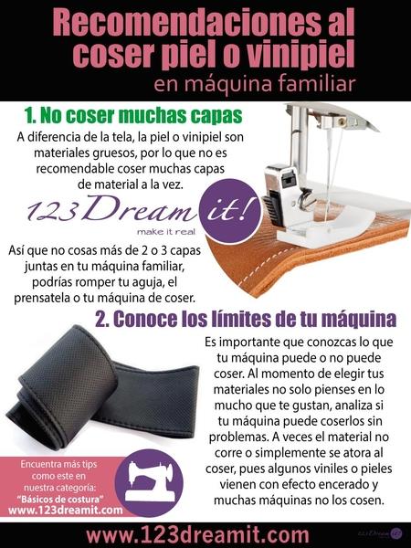 Recomendaciones al coser piel y vinipiel en máquina familiar