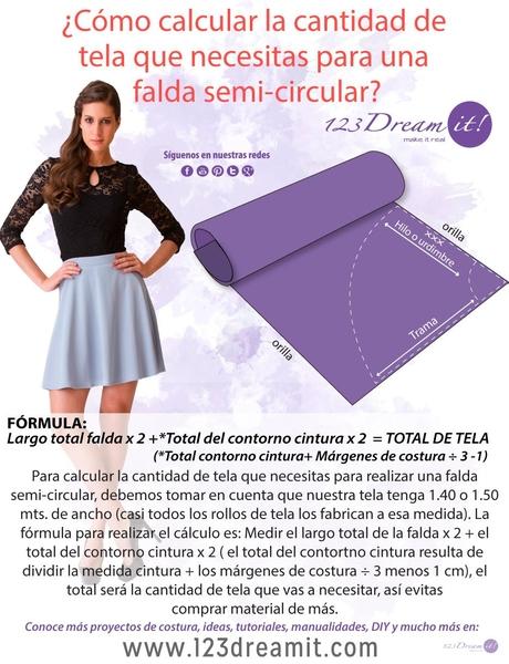 Falda semi circular ¿Cuanta tela necesitas?