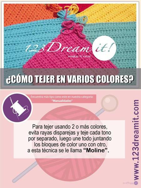 ¿Cómo tejer en varios colores?
