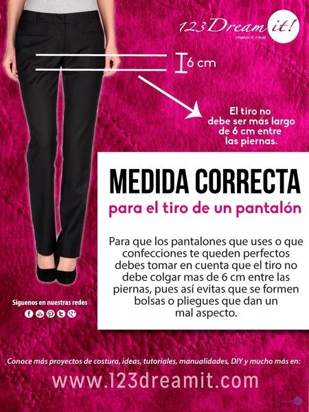 Medida correcta para el tiro del pantalón