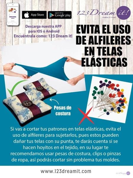 Evita el uso de alfileres en telas elásticas