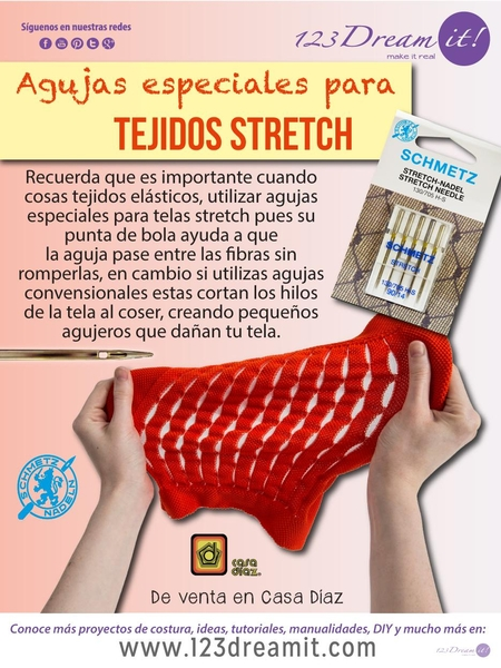 Agujas especiales para tejidos stretch