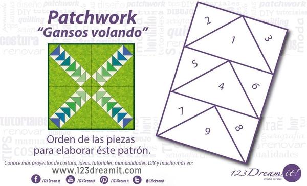 """Patrón patchwork """"Gansos volando"""""""