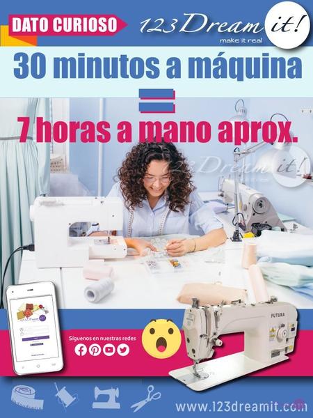 Equivalencia entre coser a máquina y a mano