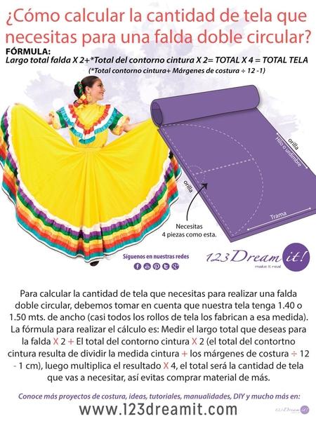 Falda doble circular-¿ Cuanta tela necesitas?