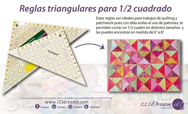 Reglas triangulares para 1/2 cuadrado