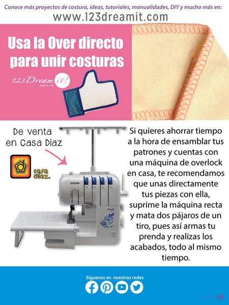 Usa la over directo para unir costuras