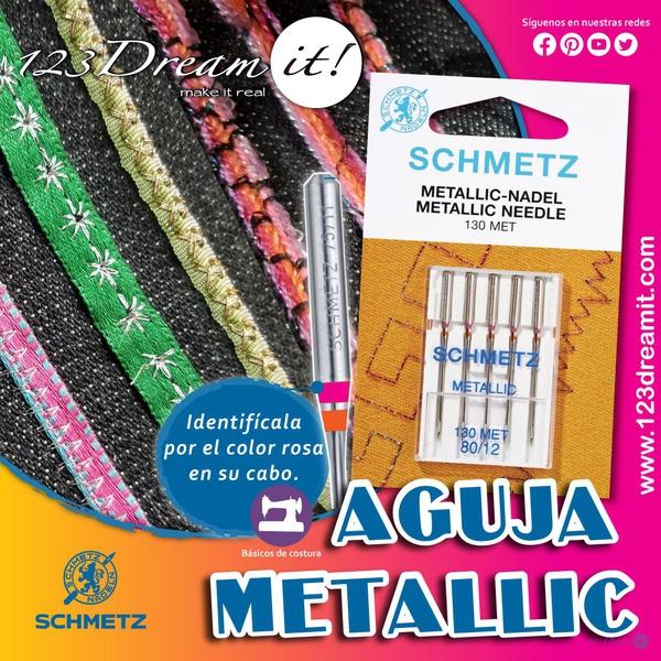 Aguja Metallic para máquina de coser o bordadora familiar