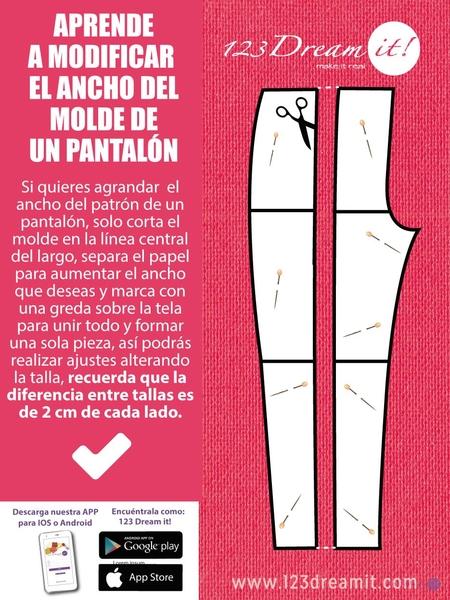Aprende a modificar el ancho del molde de un pantalón