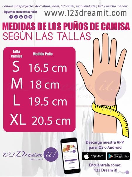 Medidas de los puños según la talla de las camisas