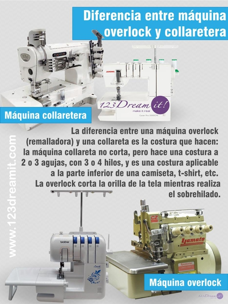 Diferencia entre máquina overlock y collaretera