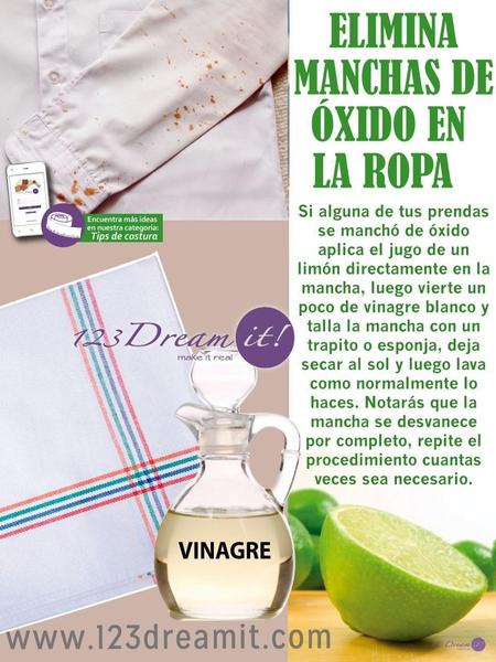 Elimina manchas de óxido en la ropa