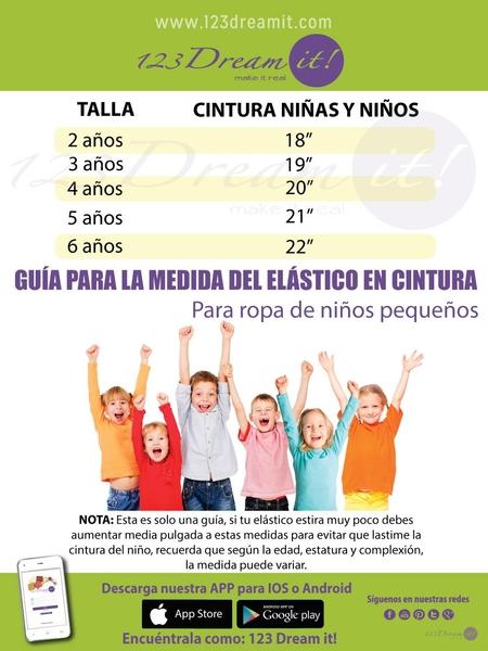 Guía para la medida del elástico en cintura de niños pequeños