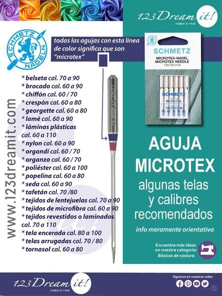 Aguja Microtex: Telas y calibres recomendados