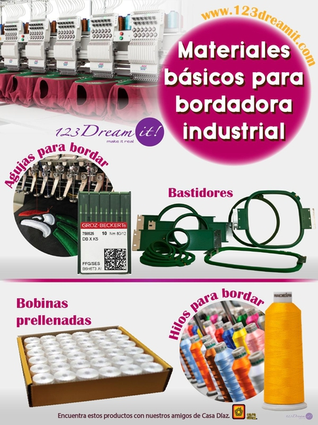 Materiales básicos para bordadora industrial