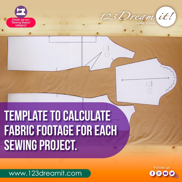 TEMPLATE TO CALCULATE FABRIC FOOTAGE FOR EACH SEWING PROJECT