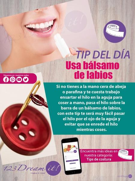 ¡Usa bálsamo de labios para ensartar agujas!