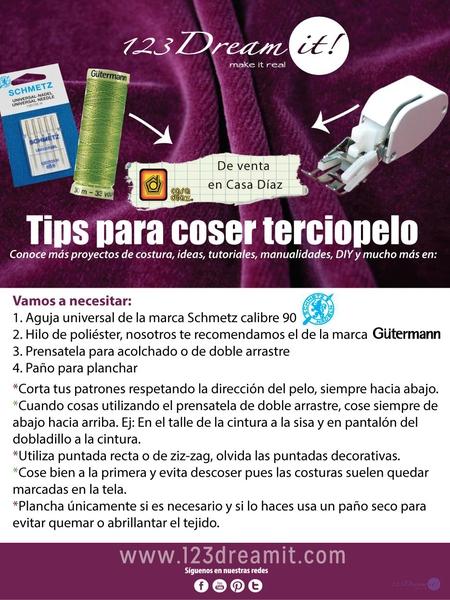 Tips para coser terciopelo