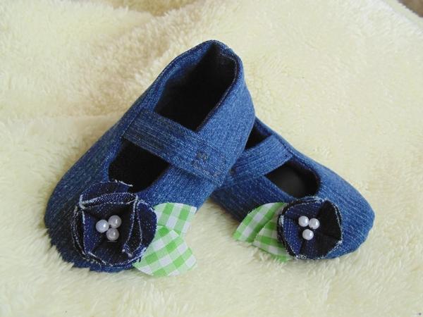 Zapatitos para bebé, ¡¡Transformando unos jeans!!