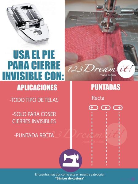 Usos y aplicaciones del pie de cierre invisible