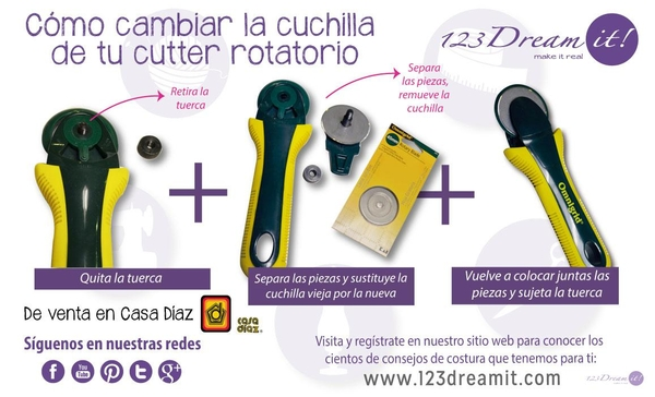 Como cambiar la cuchilla del cutter rotatorio