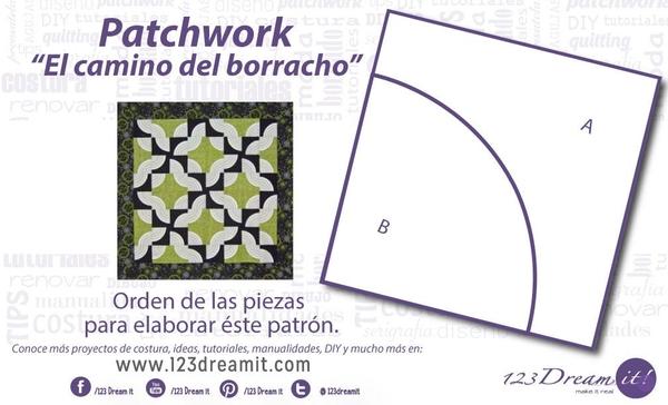 """Patrón Patchwork """"El camino del borracho"""""""