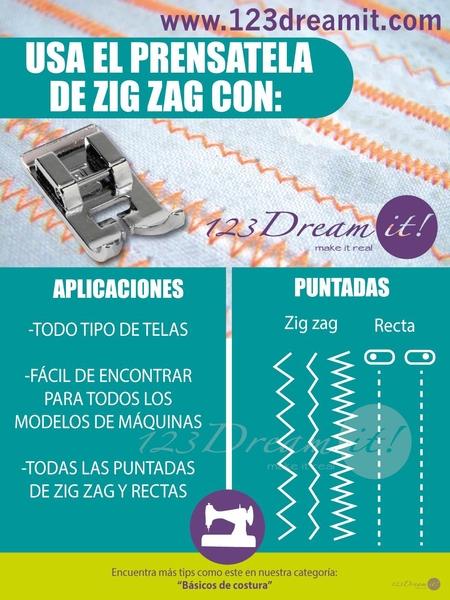 Usos y aplicaciones del pie de zig zag