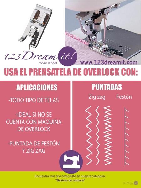 Usos del prensatela de overlock