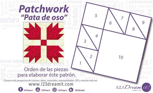 """Patrón patchwork """"Pata de Oso"""""""