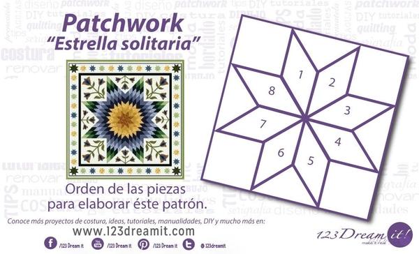 """Patrón patchwork """"Estrella Solitaria"""""""