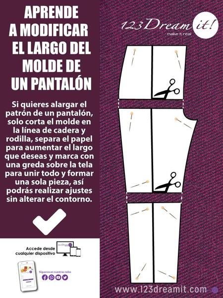 Modifica el largo de un molde de pantalón