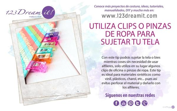 Utiliza clips o pinzas de ropa para sujetar tu tela