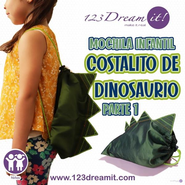 Costalito/mochila de dinosaurio - Proyecto de Costura