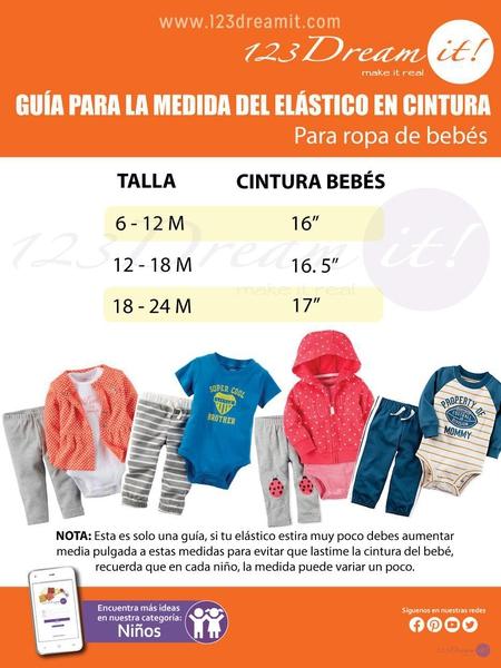 Medida para el elástico en la ropa de bebés