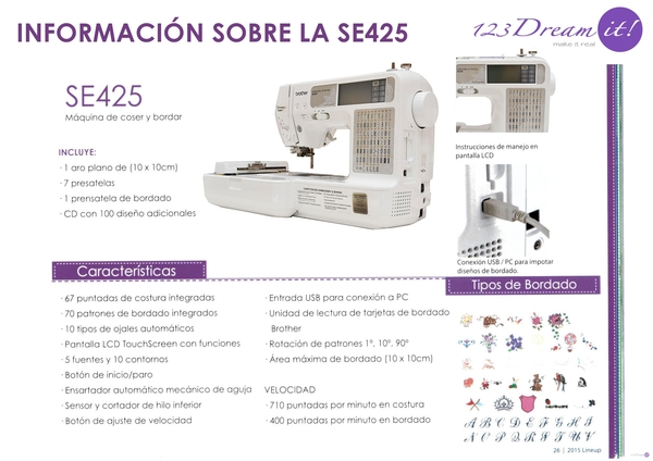Info sobre la SE425 Brother