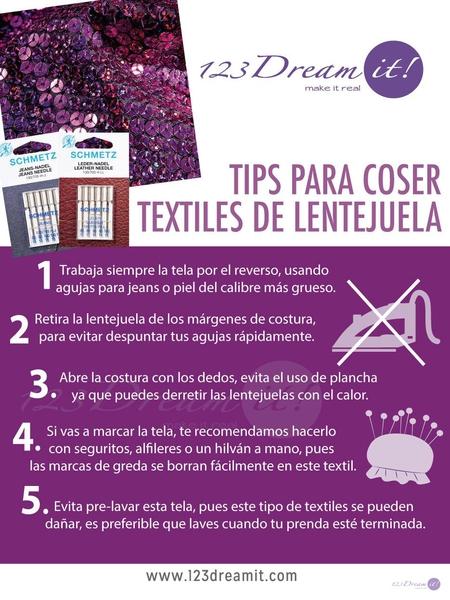 Tips para coser textiles de lentejuela