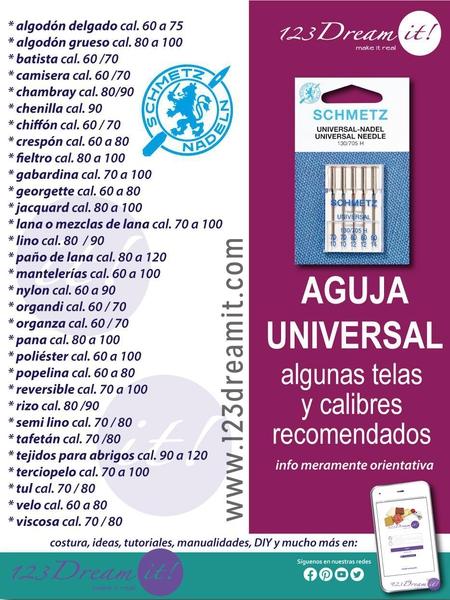 Aguja universal - Telas y calibres recomendados