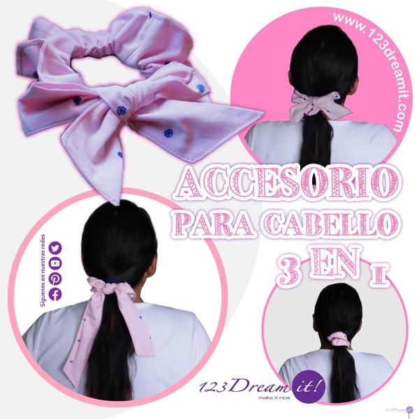 Accesorio para cabello 3 en 1. Proyecto de costura paso a paso