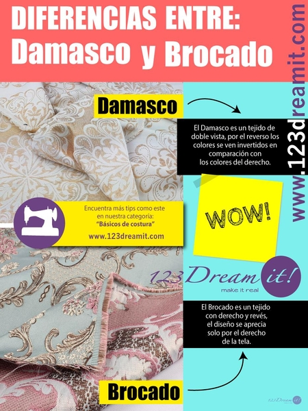Diferencias entre damasco y brocado.