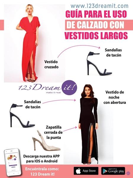 Guía para el uso de calzado con vestido largo