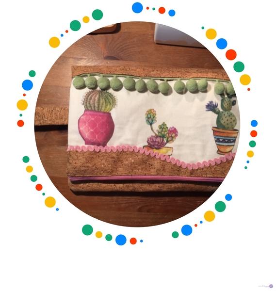 Bolso de mano, combinado con tela de corcho y algodón