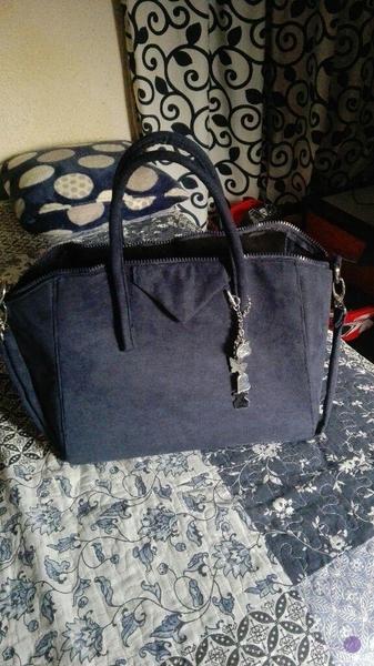 bolso azul, hecho a mano
