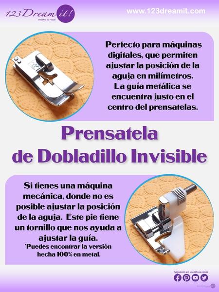 Escoge el prensatela de dobladillo invisible para tu máquina