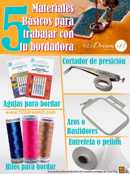 5 materiales básicos para trabajar con tu bordadora