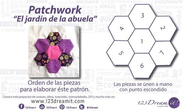 """Patrón patchwork """"Jardín de la Abuela"""""""