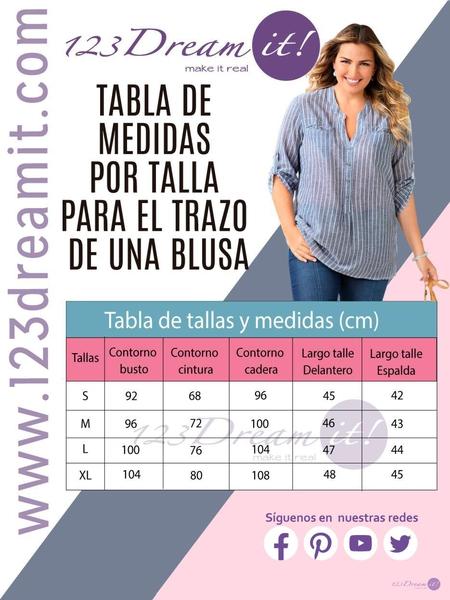 Tabla de medidas por talla para el trazo de una blusa